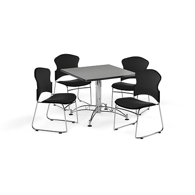 OFM 42 Square Laminate MultiPurpose Table w/4 Chairs, Gray Nebula/Black Chairs (PKGBRK0440008)