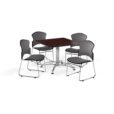 OFM 42 Square Laminate MultiPurpose Table w/Four Chairs, Mahogany Table/Gray Chair (PKGBRK0440009)
