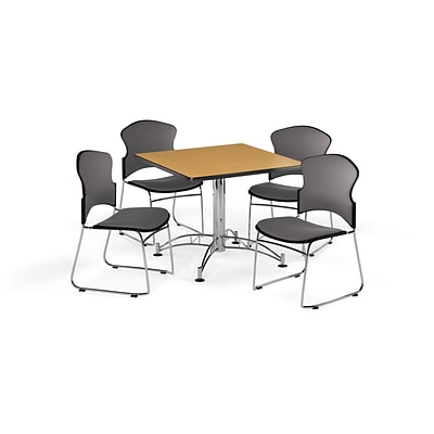 OFM 42 Square Laminate Multi-Purpose Table with 4 Chairs, Oak Table/Gray Chairs (PKG-BRK-044-0013)