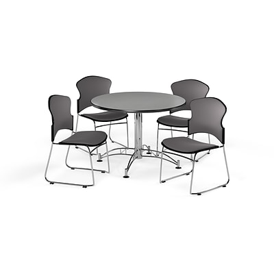 OFM 42 Round Laminate MultiPurpose Table w/4 Chairs, Gray Nebula Table/Gray Chairs (PKGBRK0430005)