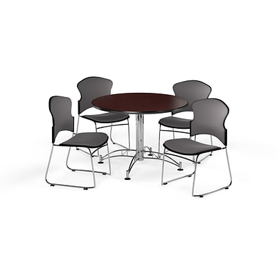 OFM 42 Round Laminate MultiPurpose Table w/Four Chairs, Mahogany Table/Gray Chair (PKGBRK0430009)