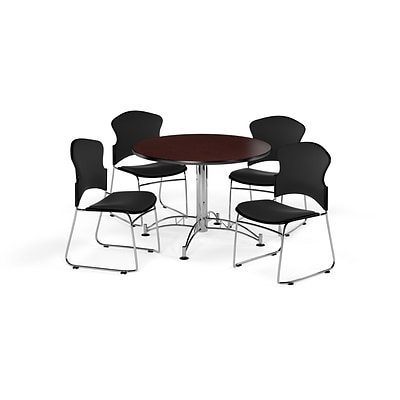 OFM 42 Round Laminate MultiPurpose Table w/4 Chairs, Mahogany Table/Black Chairs (PKGBRK0430012)