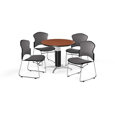 OFM 36 Round Laminate MultiPurpose MeshBase Table w/4 Chairs, Cherry/Gray Chairs (PKGBRK0450001)