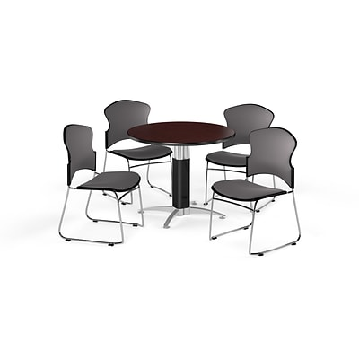 OFM 42 Round Laminate MultiPurpose MeshBase Table w/4 Chairs, Mahogany/Gray Chairs (PKGBRK0470009)