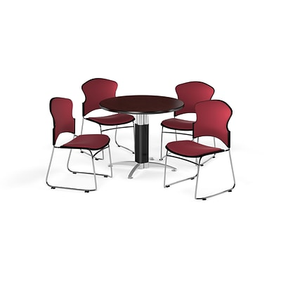 OFM 36 Round Laminate MultiPurpose MeshBase Table w/4 Chairs, Mahogany/Wine Chairs (PKGBRK0450010)