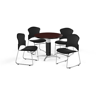 OFM 42 Round Laminate MultiPurpose MeshBase Table w/Four Chairs, Mahogany/Black Chair