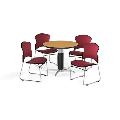 OFM 36 Round Laminate MultiPurpose MeshBase Table w/4 Chairs, Oak Table/Wine Chairs (PKGBRK0450014)