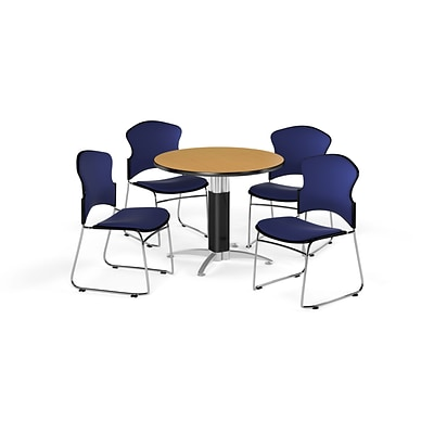 OFM 42 Round Laminate MultiPurpose Mesh-Base Table w/Four Chairs, Oak/Navy Chair (PKG-BRK-047-0015)