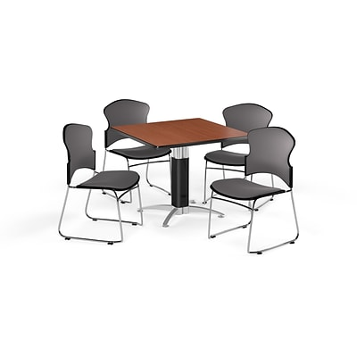 OFM 42 Square Laminate MultiPurpose MeshBase Table w/4 Chairs, Cherry/Gray Chairs (PKGBRK0480001)