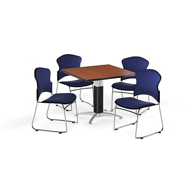 OFM 36 Square Laminate MultiPurpose MeshBase Table w/4 Chairs, Cherry/Navy Chairs (PKGBRK0460003)