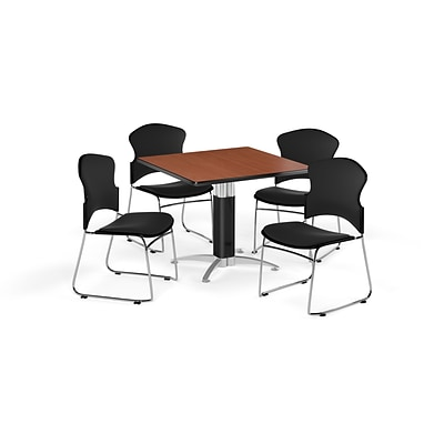 OFM 36 Square Laminate MultiPurpose MeshBase Table w/4 Chairs, Cherry/Black Chairs (PKGBRK0460004)