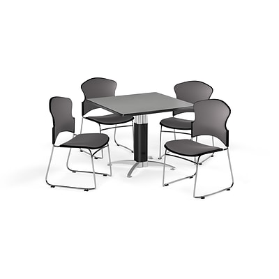 OFM 36 Square Laminate MultiPurpose MeshBase Table w/4 Chairs, Gray Nebula/Gray Chairs