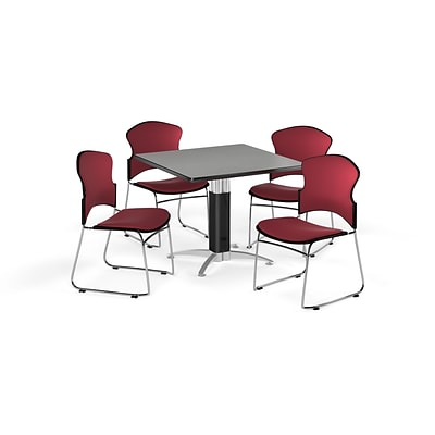 OFM 36 Square Laminate MultiPurpose MeshBase Table w/4 Chairs, Gray Nebula/Wine Chairs
