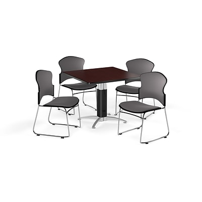 OFM 42 Square Laminate MultiPurpose MeshBase Table w/Four Chairs, Mahogany/Gray Chair