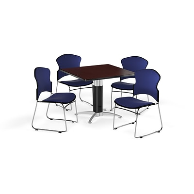 OFM 36 Square Laminate MultiPurpose MeshBase Table w/4 Chairs, Mahogany/Navy Chairs (PKGBRK0460011)