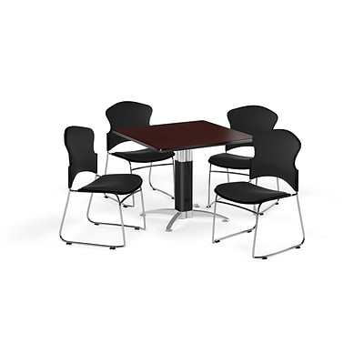 OFM 42 Square Laminate MultiPurpose MeshBase Table w/4 Chairs, Mahogany/Black Chairs