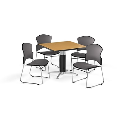 OFM 36 Square Laminate Multi-Purpose Mesh-Base Table w/4 Chairs, Oak/Gray Chairs (PKG-BRK-046-0013)