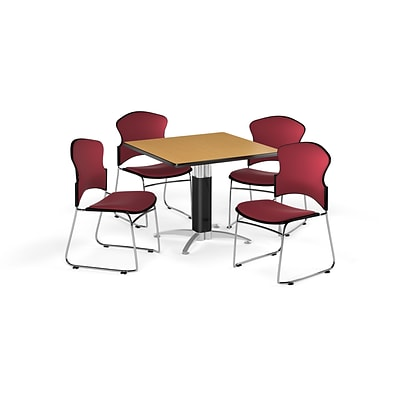OFM 36 Square Laminate MultiPurpose MeshBase Table w/Four Chairs, Oak/Wine Chair (PKGBRK0460014)