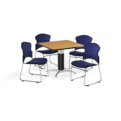 OFM 36 Square Laminate Multi-Purpose Mesh-Base Table w/4 Chairs, Oak/Navy Chairs (PKG-BRK-046-0015)