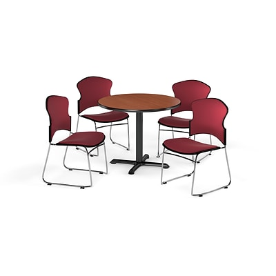 OFM 36 Round Laminate MultiPurpose XSeries Table w/Four Chairs, Cherry/Wine Chair (PKGBRK0490002)