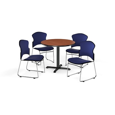 OFM 36 Round Laminate MultiPurpose X-Series Table w/4 Chairs, Cherry/Navy Chairs (PKG-BRK-049-0003)