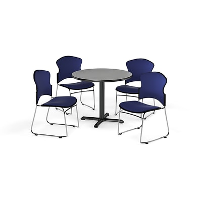 OFM 36 Round Laminate MultiPurpose X-Series Table w/4 Chairs, Gray Nebula/Navy Chairs (845123057384)