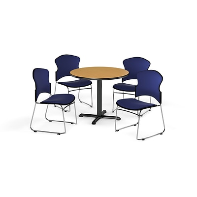 OFM 42 Round Laminate MultiPurpose XSeries Table w/4 Chairs, Oak Table/Navy Chairs (PKGBRK0510015)