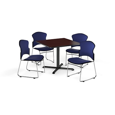 OFM 36 Square Laminate MultiPurpose X-Series Table w/Four Chairs, Mahogany/Navy Chair (845123057582)