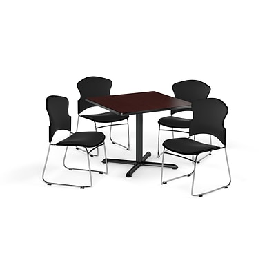 OFM 42 Square Laminate MultiPurpose X-Series Table w/Four Chairs, Mahogany/Black Chair (845123057919)