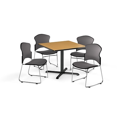 OFM 36 Square Laminate MultiPurpose X-Series Table w/Four Chairs, Oak/Gray Chair (PKG-BRK-050-0013)