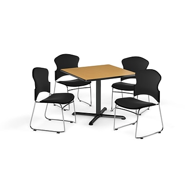 OFM 36 Square Laminate Multi-Purpose X-Series Table w/4 Chairs, Oak/Black Chairs (PKG-BRK-050-0016)