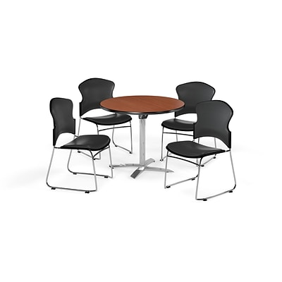 OFM 36 Round Laminate MultiPurpose FlipTop Table w/4 Chairs, Cherry/Charcoal Chairs (PKGBRK0530003)