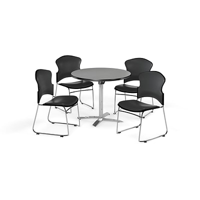 OFM 42 Round Laminate MultiPurpose FlipTop Table w/4 Chairs, Gray Nebula/Charcoal Chairs