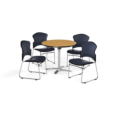 OFM 42 Round Laminate MultiPurpose FlipTop Table w/4 Chairs, Oak Table/Navy Chairs (PKGBRK0550019)