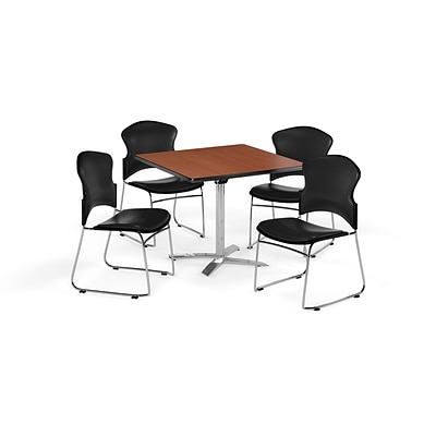 OFM 36 Square Laminate MultiPurpose FlipTop Table w/4 Chairs, Cherry/Black Chairs (PKGBRK0540005)