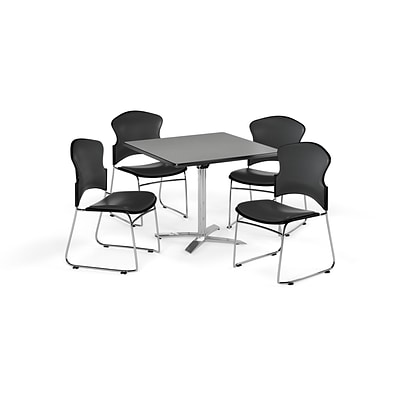OFM 42 Square Laminate MultiPurpose FlipTop Table w/Four Chairs, Gray Nebula/Charcoal Chair