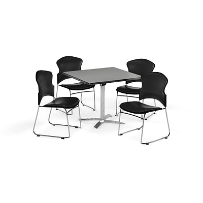 OFM 36 Square Laminate MultiPurpose FlipTop Table w/Four Chairs, Gray Nebula/Black Chair (845123058251)