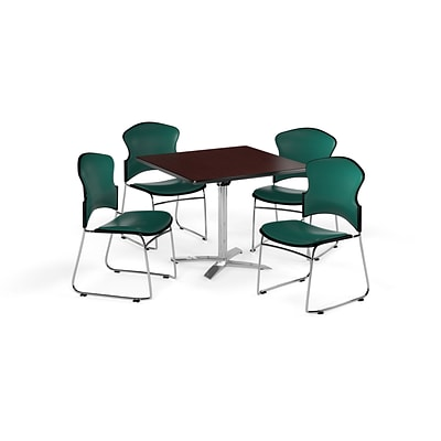 OFM 42 Square Laminate MultiPurpose FlipTop Table w/4 Chairs, Mahogany/Teal Chairs (PKGBRK0560011)
