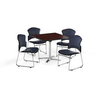 OFM 42 Square Laminate MultiPurpose FlipTop Table w/Four Chairs, Mahogany/Navy Chair (845123058695)