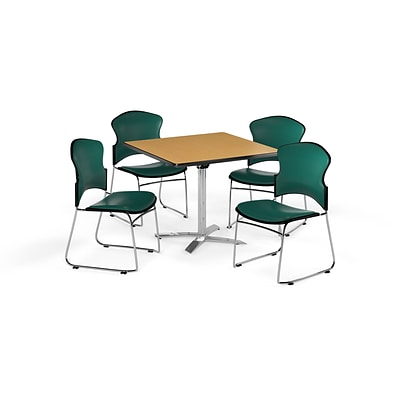 OFM 42 Square Laminate MultiPurpose Flip-Top Table w/Four Chairs, Oak/Teal Chair (PKG-BRK-056-0016)
