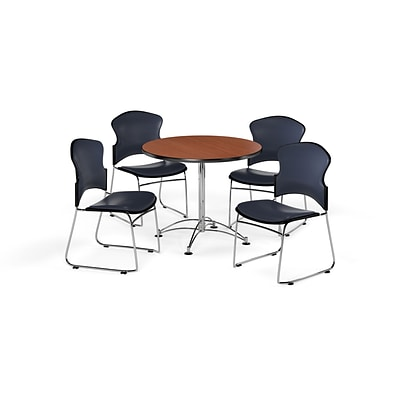 OFM 36 Round Laminate Multi-Purpose Table w/4 Chairs, Cherry Table/Navy Chairs (PKG-BRK-057-0004)