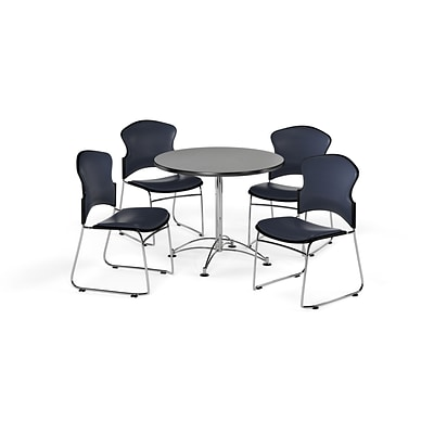 OFM 36 Round Laminate MultiPurpose Table w/4 Chairs, Gray Nebula Table/Navy Chairs (PKGBRK0570009)