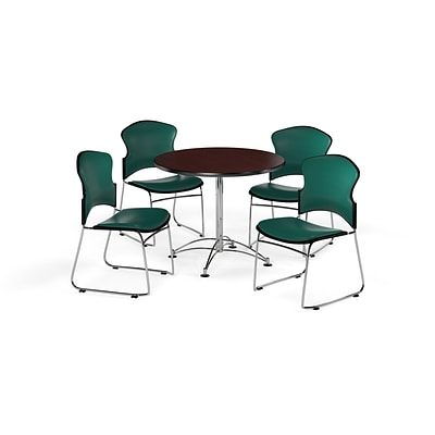 OFM 36 Round Laminate MultiPurpose Table w/Four Chairs, Mahogany Table/Teal Chair (PKGBRK0570011)