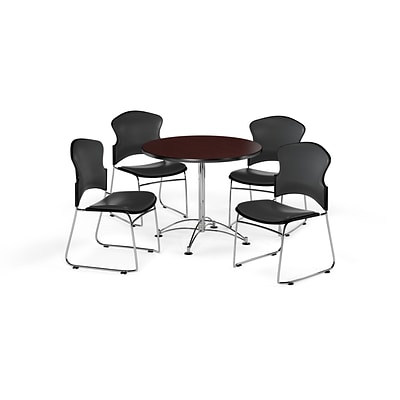 OFM 36 Round Laminate Multi-Purpose Table w/Four Chairs, Mahogany/Charcoal Chair (PKG-BRK-057-0013)