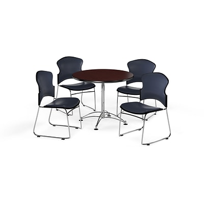 OFM 36 Round Laminate MultiPurpose Table w/Four Chairs, Mahogany Table/Navy Chair (PKGBRK0570014)