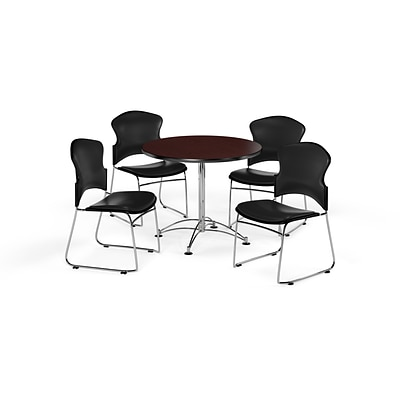 OFM 36 Round Laminate MultiPurpose Table w/Four Chairs, Mahogany Table/Black Chair (PKGBRK0570015)