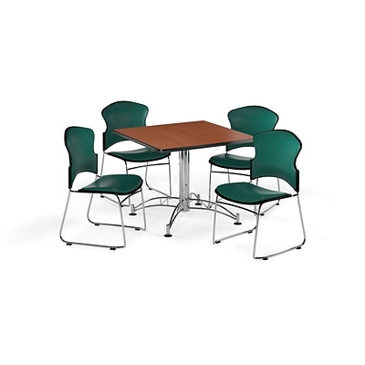 OFM 42 Square Laminate Multi-Purpose Table w/4 Chairs, Cherry Table/Teal Chairs (PKG-BRK-060-0001)