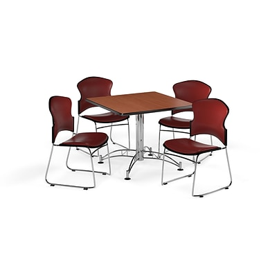 OFM 42 Square Laminate MultiPurpose Table w/Four Chairs, Cherry Table/Wine Chair (PKGBRK0600002)