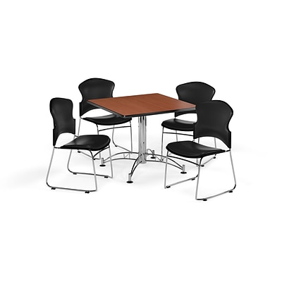 OFM 42 Square Laminate Multi-Purpose Table w/4 Chairs, Cherry Table/Black Chairs (PKG-BRK-060-0005)