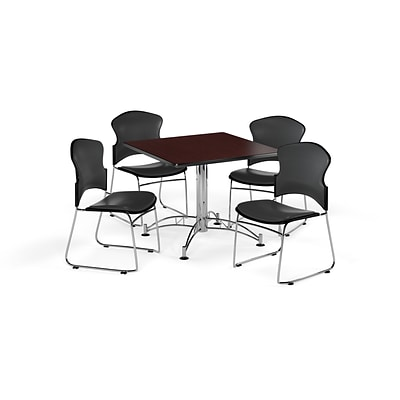 OFM 42 Square Laminate MultiPurpose Table w/4 Chairs, Mahogany/Charcoal Chairs (PKGBRK0600013)